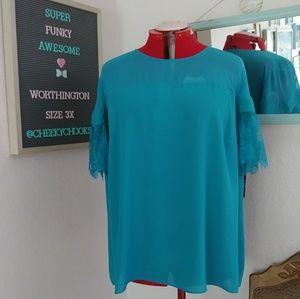 🆕 Worthington lace sleeve sheer drapey top